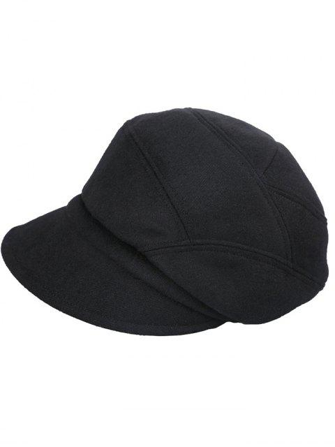 hot British Style Solid Color Newsboy Cap - JET BLACK  Mobile