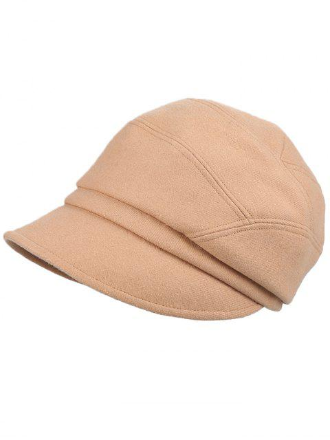 shop British Style Solid Color Newsboy Cap - TAN  Mobile