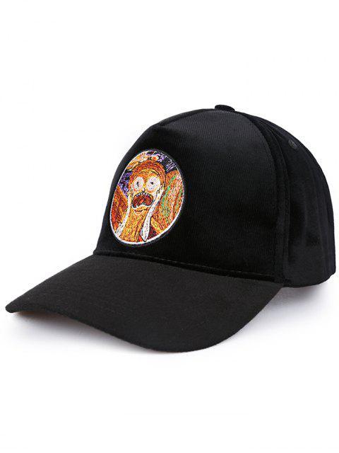 Novedad, pintura, patrón, protector solar, sombrero - Negro  Mobile