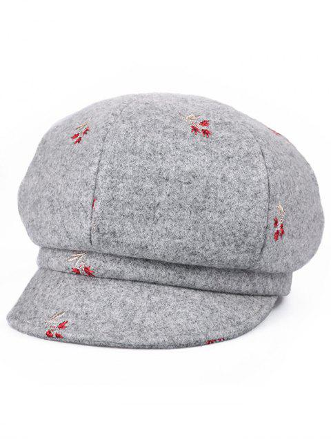 buy Floral Embroidery Elegant Newsboy Hat - GRAY CLOUD  Mobile