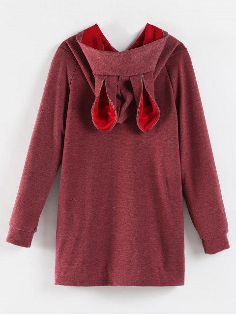 Sweat à Capuche avec Oreilles de Lapin - Rouge Violet Pâle  S Mobile