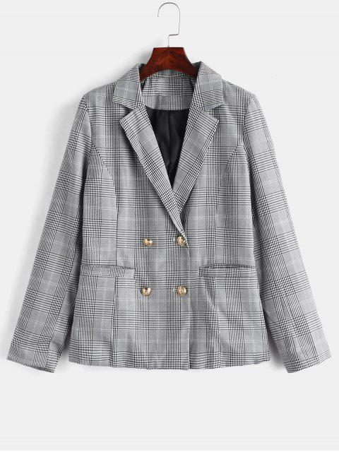 sale Back Slit Lapel Plaid Blazer - BLACK L Mobile