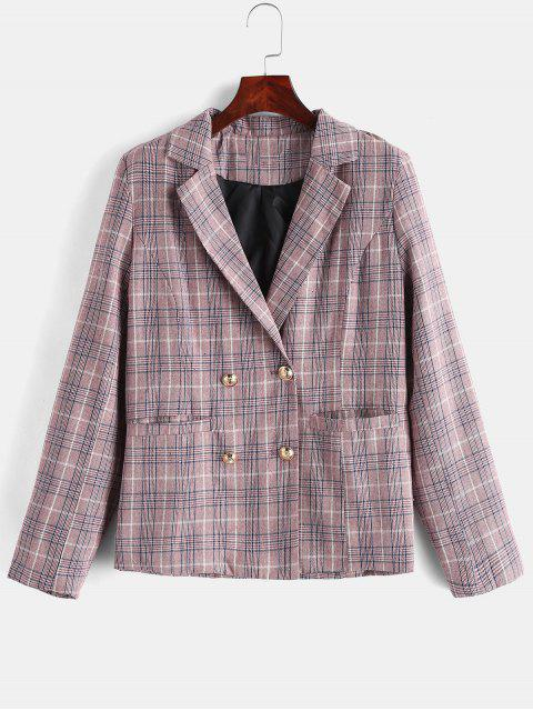womens Double Breasted Plaid Lapel Blazer - PINK M Mobile