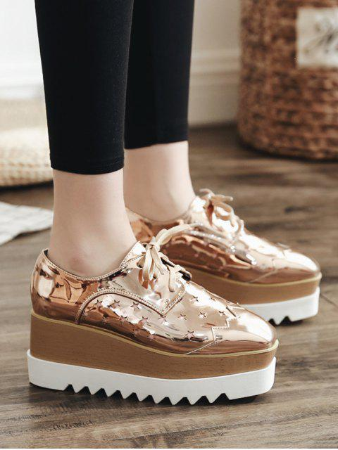best Shiny Star Low Top High Platform Sneakers - CHAMPAGNE EU 37 Mobile
