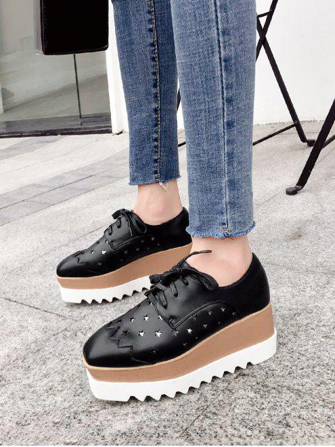 outfits Shiny Star Low Top High Platform Sneakers - BLACK EU 39 Mobile