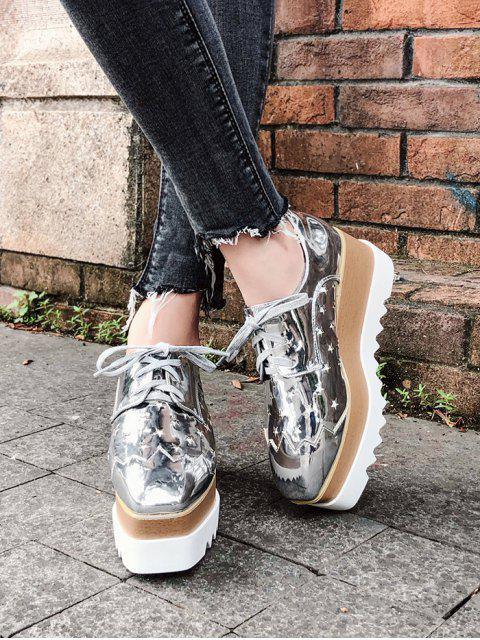 latest Shiny Star Low Top High Platform Sneakers - SILVER EU 39 Mobile