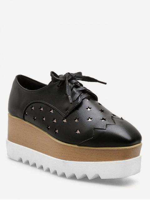 trendy Lace Up Star Wedge Platform Sneakers - BLACK EU 37 Mobile