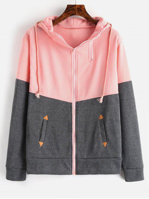 new Zip Up Two Tone Tunic Hoodie - PINK S Mobile
