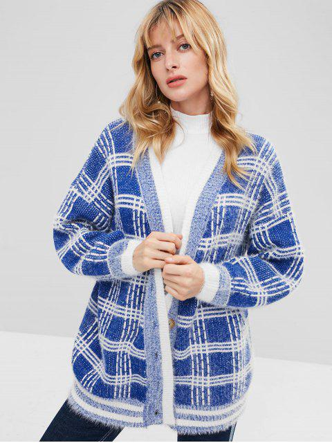 online Button Front Oversized Checked Cardigan - BLUE ONE SIZE Mobile