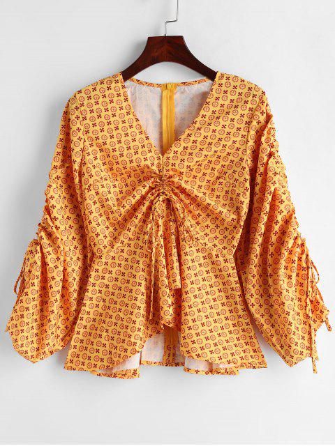 online Gathered Front Printed Peplum Top - YELLOW L Mobile