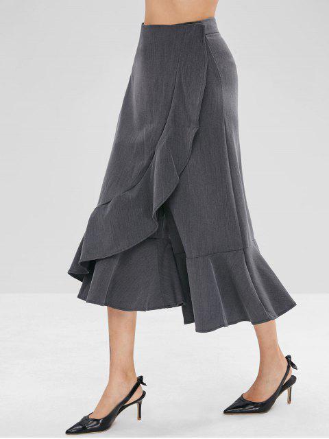 Pantalon Capri à Jambe Large à Volants - Gris Foncé L Mobile