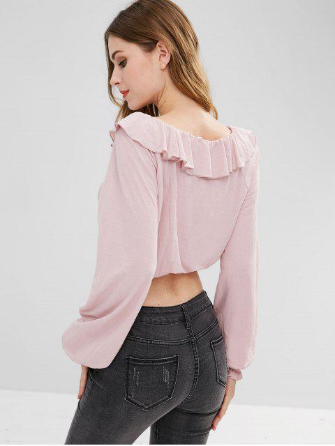 shops ZAFUL Ruffled Long Sleeve Crop Blouse - LIGHT PINK L Mobile