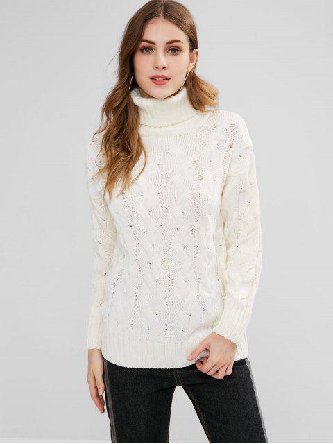 Suéter de punto suelto con cuello alto de punto de cable - Blanco Cálido L Mobile