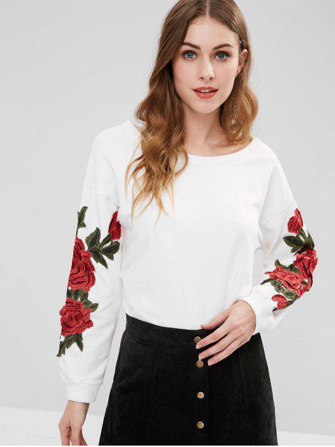 Sudadera con estampado floral de la túnica - Blanco S Mobile
