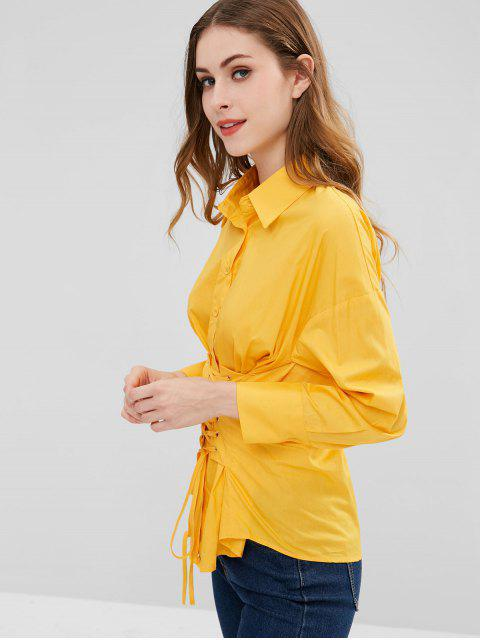 fashion Waist Lace-up Shirt - RUBBER DUCKY YELLOW M Mobile