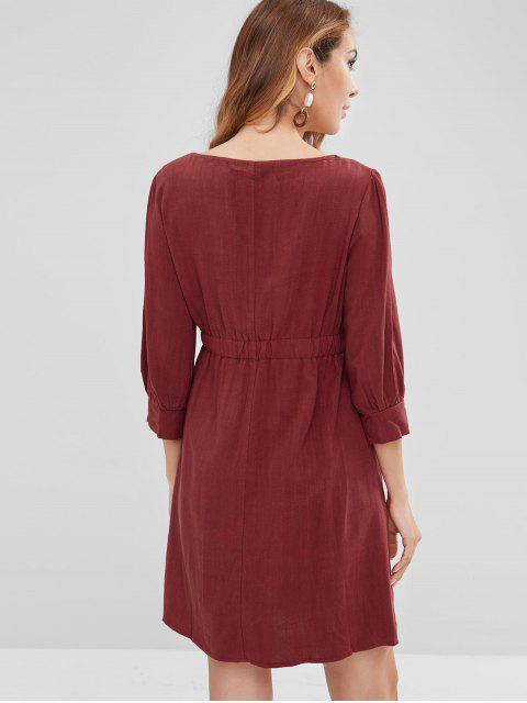 ZAFUL Mini-Robe Simple Boutonnée en Avant - Rouge Vineux S Mobile
