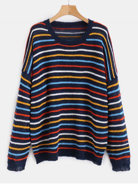 Suéter de gran tamaño a rayas jersey - Multicolor-B Única Talla Mobile