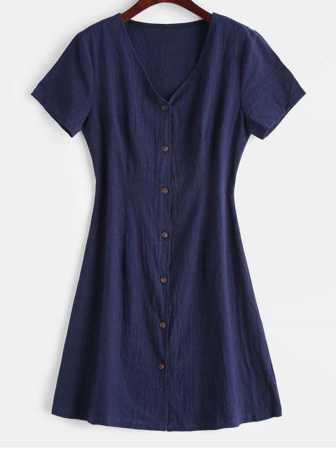 ZAFUL Robe Décontractée Boutonnée à Col V - Bleu de Minuit L Mobile