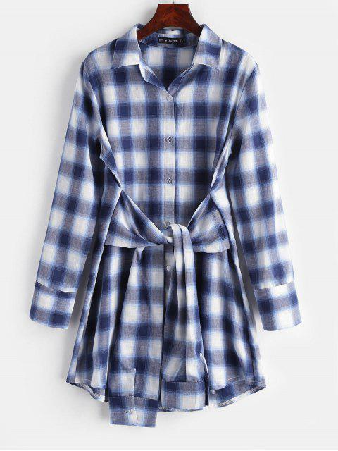 outfit Plaid Knotted Shirt Dress - MIDNIGHT BLUE M Mobile