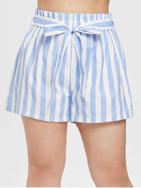 fashion ZAFUL Striped Plus Size Belted Shorts - LIGHT BLUE 1X Mobile