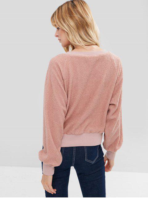 outfits ZAFUL Raglan Sleeve Faux Shearling Teddy Sweatshirt - KHAKI ROSE ONE SIZE Mobile