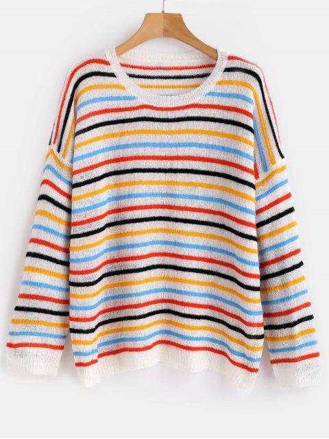 Suéter de gran tamaño a rayas jersey - Multicolor-A Única Talla Mobile