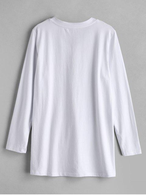 trendy ZAFUL Graphic Slogan Long Sleeve Tee - WHITE M Mobile