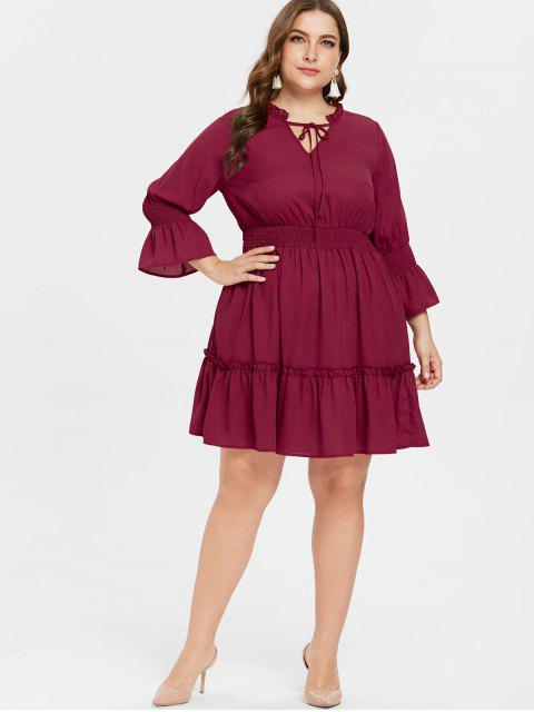 shops ZAFUL Plus Size Flounce Flare Sleeve Dress - RED WINE 3X Mobile