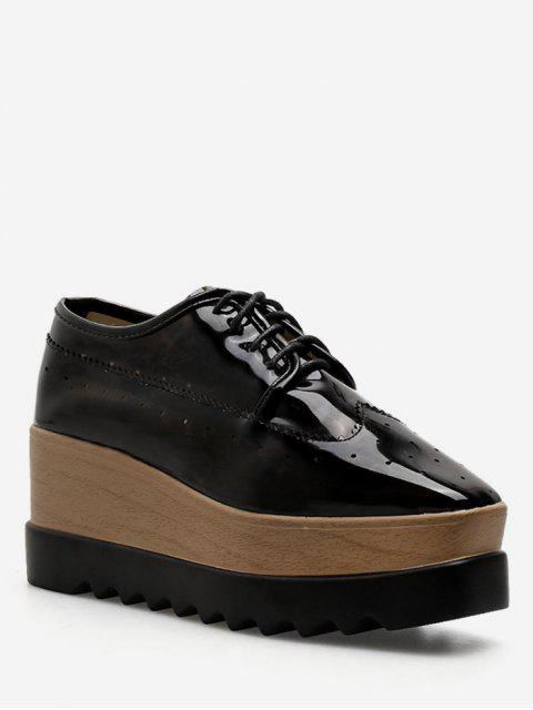 lady Square Toe Lace Up Platform Sneakers - BLACK EU 40 Mobile