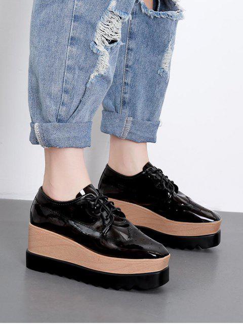 shop Square Toe Lace Up Platform Sneakers - BLACK EU 38 Mobile