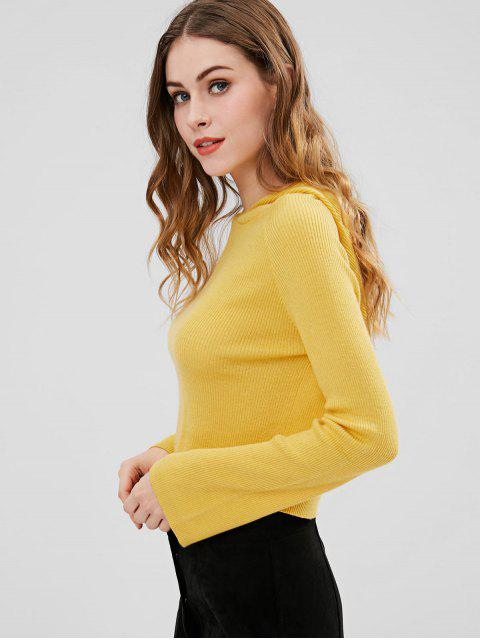 shops ZAFUL Ribbed Hooded Cropped Sweater - YELLOW M Mobile