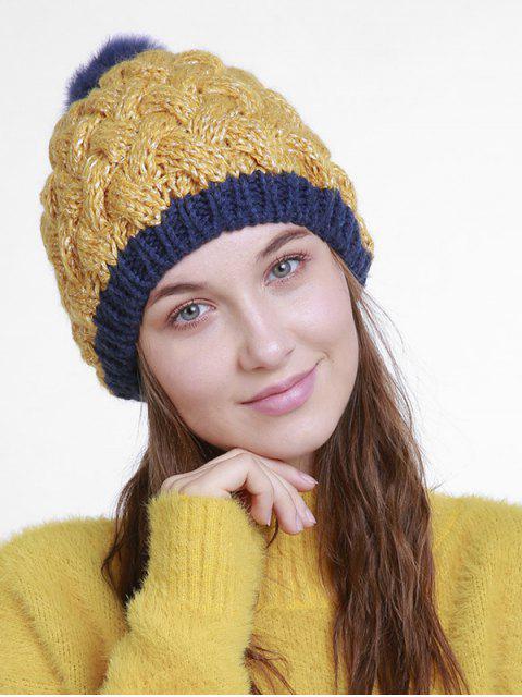 Bonnet tricoté en crochet à boule floue d'hiver - Verge d'Or  Mobile