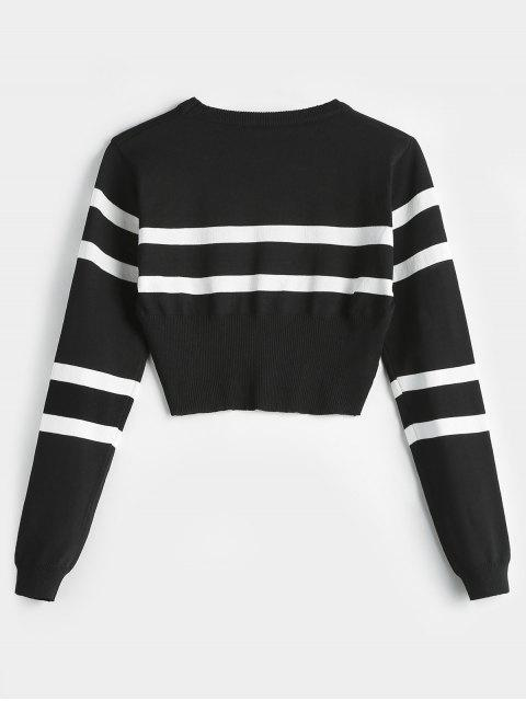 lady Striped Round Neck Short Sweater - BLACK ONE SIZE Mobile