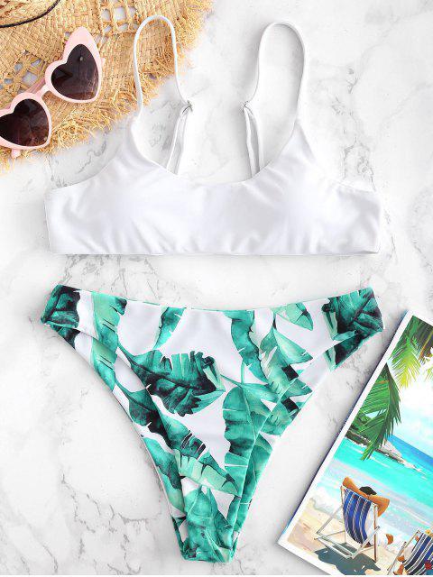 affordable ZAFUL Leaves Print High Cut Bikini Set - WHITE S Mobile