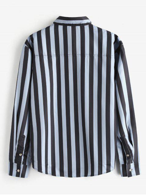hot ZAFUL Car Stripes Print Casual Shirt - BLUE GRAY M Mobile