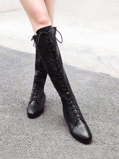 2ae8e8f1f9c ... PU Leather Lace Up Knee High Boots - Black Eu 36