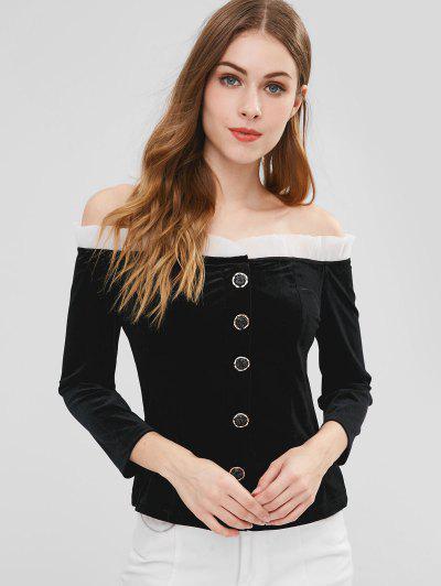 463f2075b6591 Beaded Buttons Off The Shoulder Velvet Top - Black M