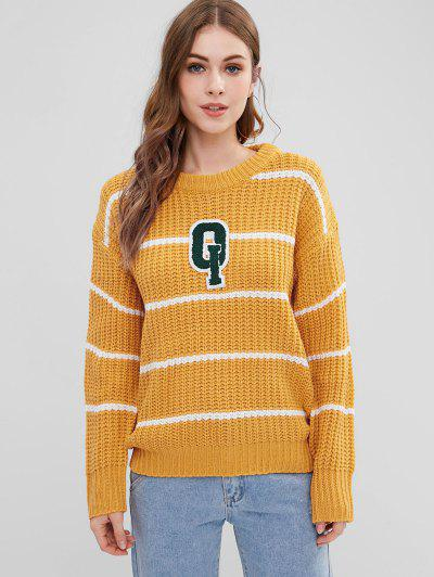 Stripes Patched Chunky Sweater - Bright Yellow