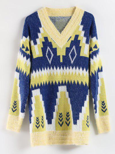 Geometric Drop Shoulder Longline Sweater - Multi