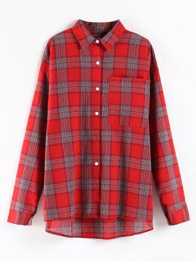 Plaid Pocket Oversized Tunic Shirt - Red