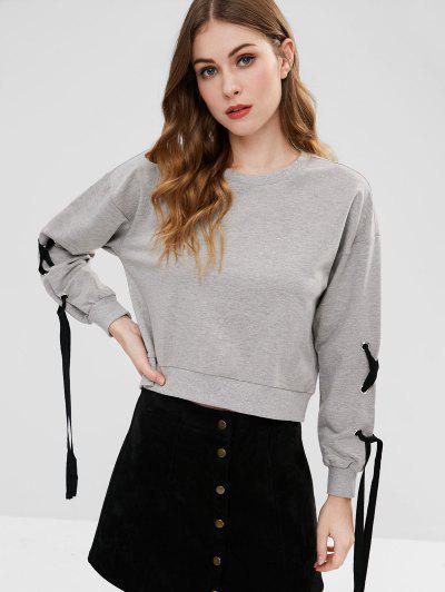 Lace-up Sleeves Sweatshirt - Gray Goose M