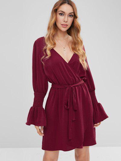 ZAFUL Surplice Flare Sleeve Plunge Dress - Red Wine L