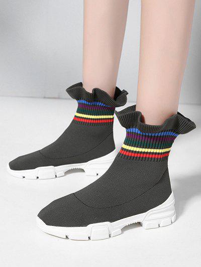 Multi-color Striped Ruffled Hem Casual Sock Boots - Army Green Eu 38