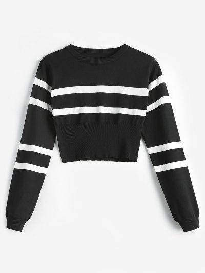 Striped Round Neck Short Sweater - Black