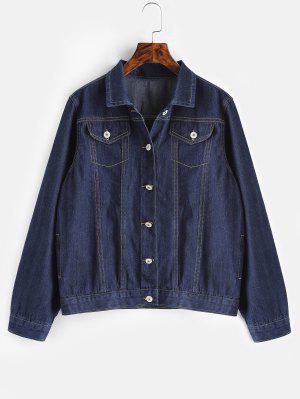 Plus Size Pockets Jeansjacke