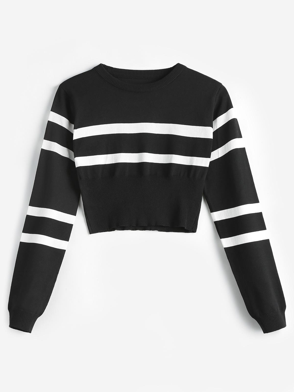 Striped Round Neck Short Sweater