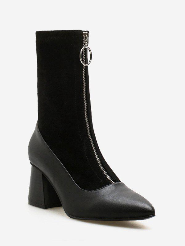 Front Zip Chunky Heel Pointed Toe Patch Boots