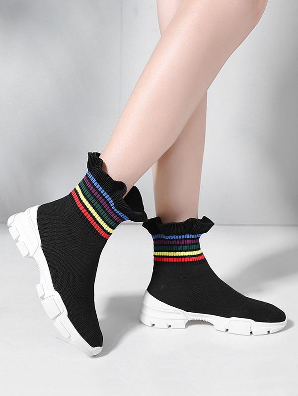 Multi-color Striped Ruffled Hem Casual Sock Boots