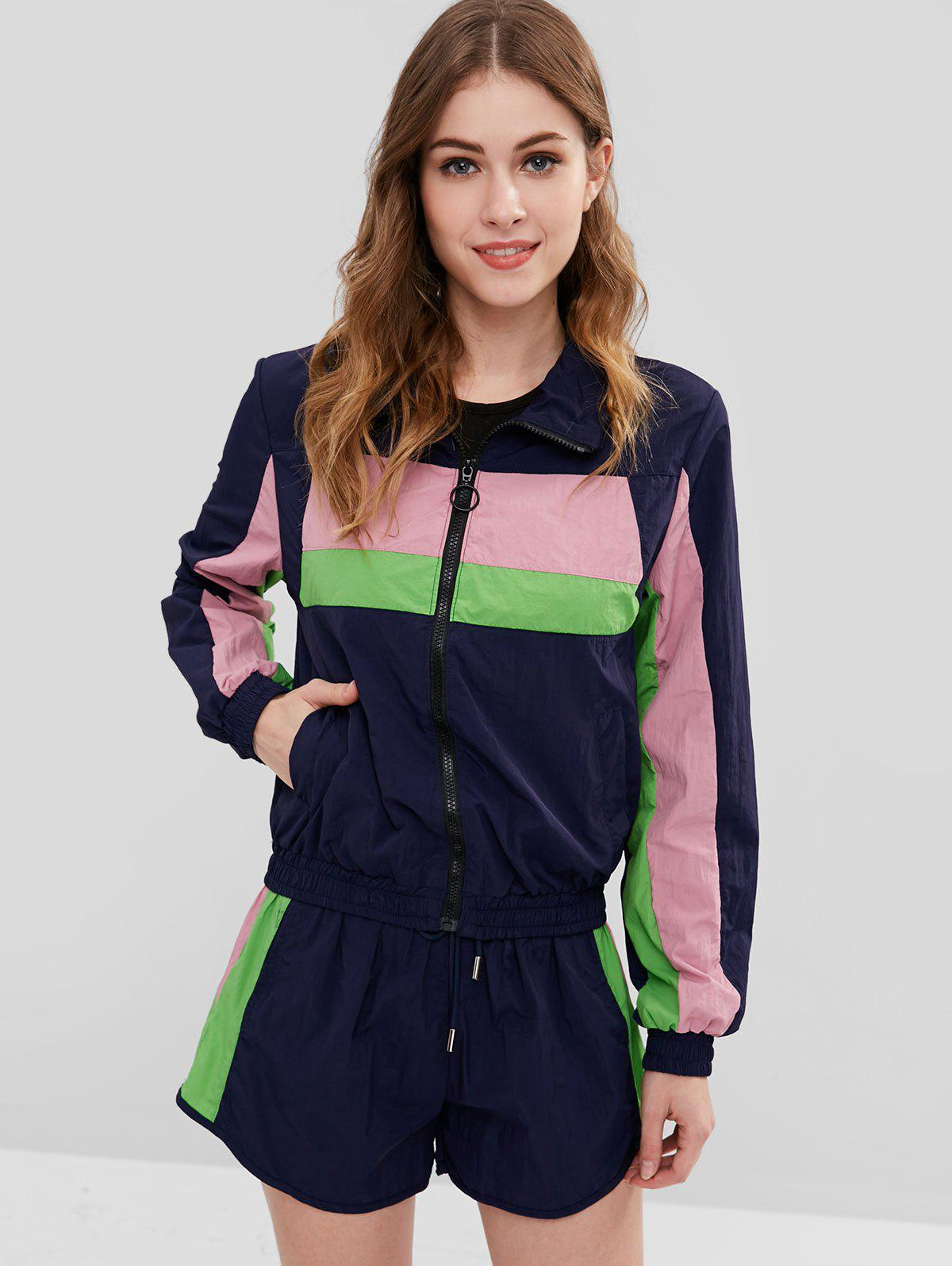 Color Block Zip Up Windbreaker Jacket With Shorts