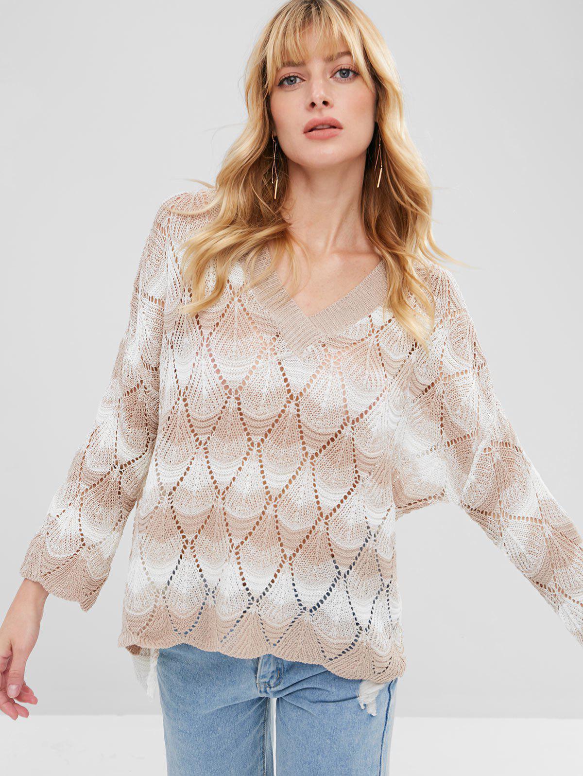 Stripes Loose Knit V Neck Sweater